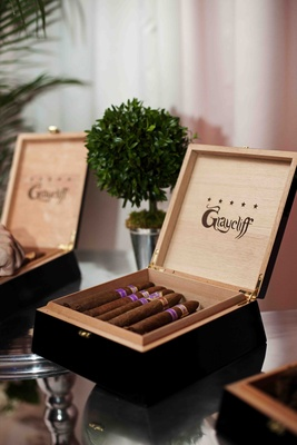 Graycliff cigar boxes filled with purple label cigars