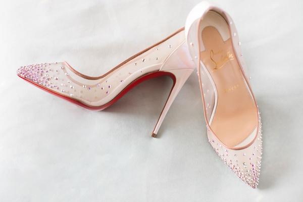 Wedding shoes christian louboutin high heels pointed toe pumps crystals rhinestones mesh sheer