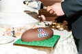 Wedding cake groom's cake U of A university of arizona football with grass and football cake design