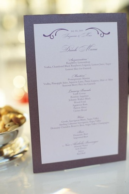Wedding cocktail menu card with purple border