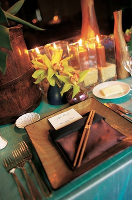 Tablescape with bamboo chopsticks and orchid