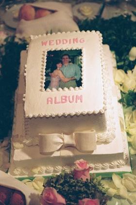 Wedding cake designed to look like wedding photo album