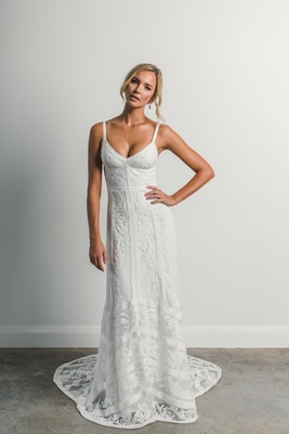 Matisse by Grace Loves Lace Elixir lace wedding dress with crisp silk strap, modern chevron design