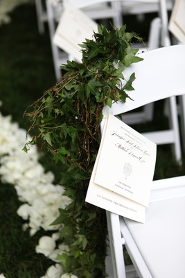 white ceremony programs, outdoor ceremony