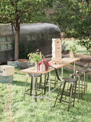 outdoor cocktail table jenga greenery california boho chic wedding styled shoot fun unique game