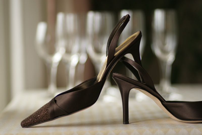Sling back satin pumps with brown beads on toe