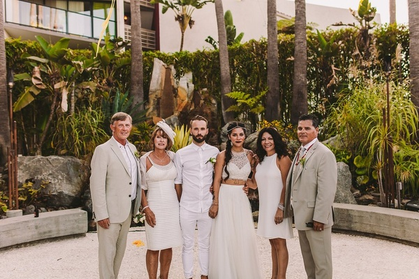 irish groom and parents, native american and latina bride with parents