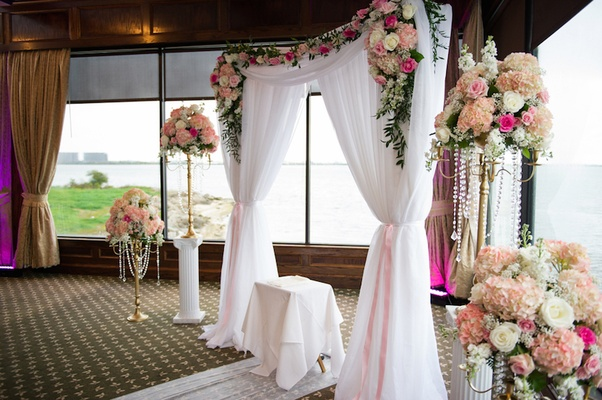 All White Indoor Wedding Ceremony Site: A Waterfront Winter Wedding With Blush + Gold Details In