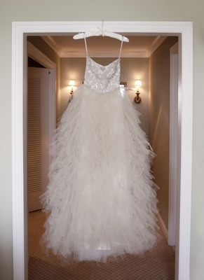 Monique Lhuillier tiered tulle wedding dress