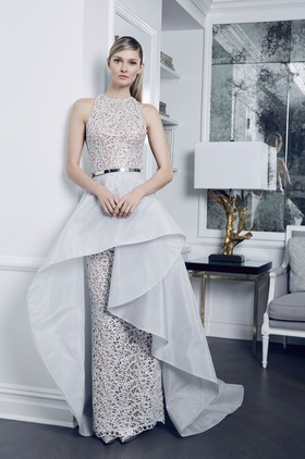 Romona Keveza Fall 2018 bridal collection silver lace halter ball gown with keyhole back