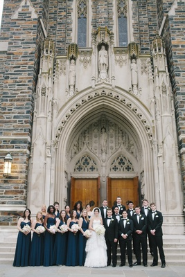 Bridesmaids and groomsmen in front of Duke Chapel