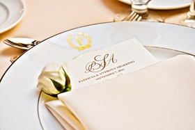 Gilt-rimmed china plates with elegant menu card