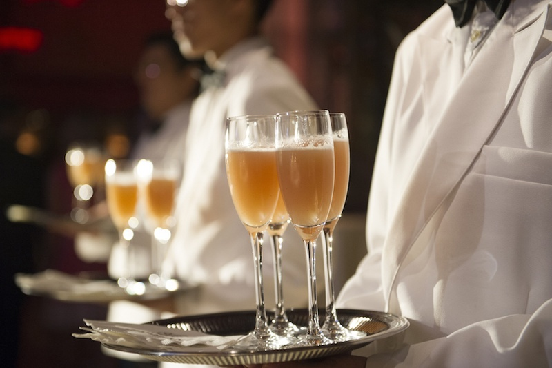 Wedding Cocktail Hour At Cipriani Wall Street With Servers In White Blazers Tray Of Drinks