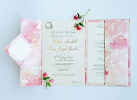 wedding invitation pastel pink coral flower print invite booklet gold foil names and flowers