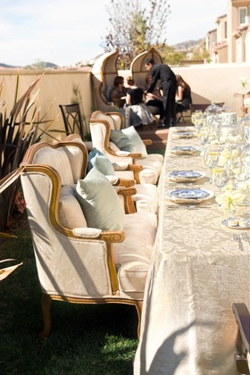 Ivory table linens and comfortable seating