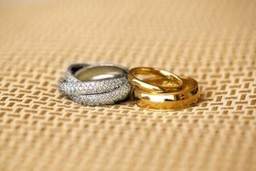 Triple rows of diamonds on wedding band