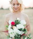 bouquet white red green various blooms rustic boho chic cascading styled shoot california wedding