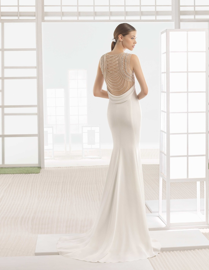 963bf389f0c Rosa Clara Bridal Warren wedding dress crepe column gown beaded back round  neckline.