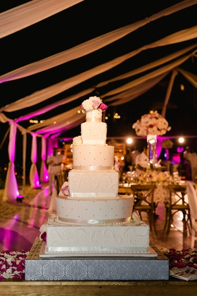 Wedding cake for Barbie Blank and Sheldon Souray's destination wedding in Mexico ribbon pearl dots