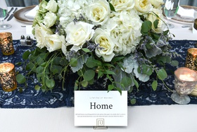 wedding table name number home travel inspired gold stand white rose hydrangea dusty miller lavender