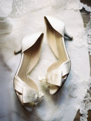 classic bridal shoes with cream satin and bow details