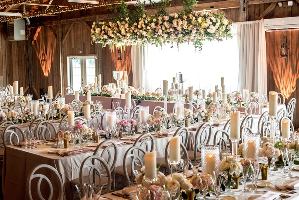 rustic-chic barn wedding reception with blush feminine touches