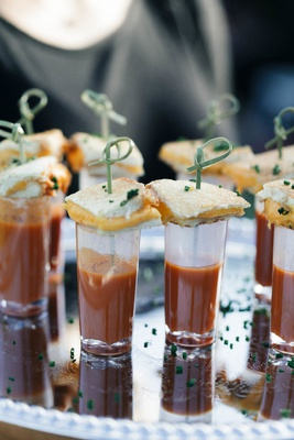Wedding reception cocktail hour jillian murray dean geyer wedding grilled cheese tomato soup shooter