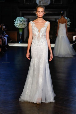 27931715ba3b Alon Livné White Fall 2016 sleeveless v-neck embroidered lace wedding dress.