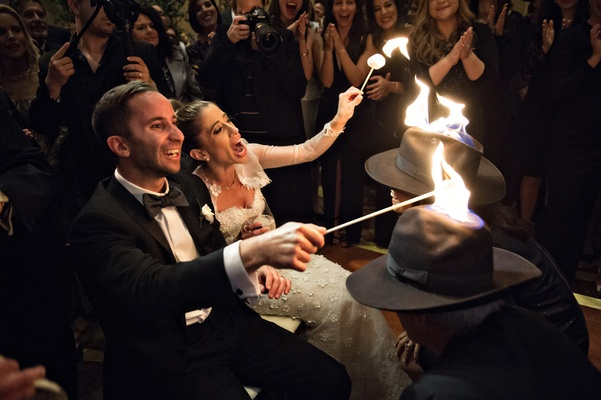 jewish wedding schtick, lighting hats on fire, fire tricks