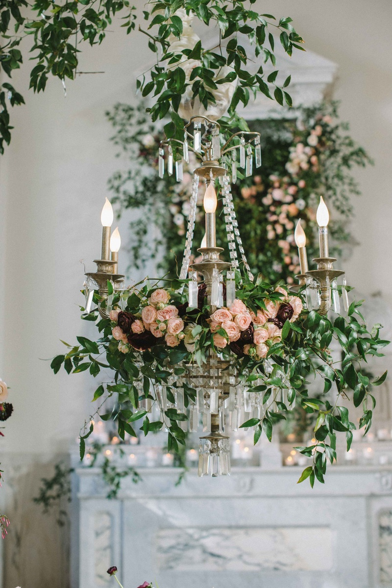 Chandelier Covered In Florals And Greenery Ranunculus Green Leaves Verdure