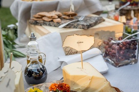 Rustic wedding cocktail hour with cheese plate on a wood slab, crostini, olives, balsamic vinegar