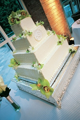 Four layer wedding cake with orchids