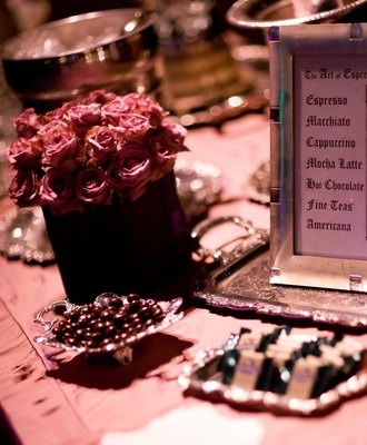 Pink roses and chocolates with framed menu