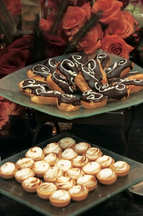 Glass platters with pastries and sweets