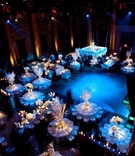 Aerial view of blue winter wedding reception