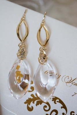 gold dangling earrings for Heidi Mueller wedding to DeMarco Murray