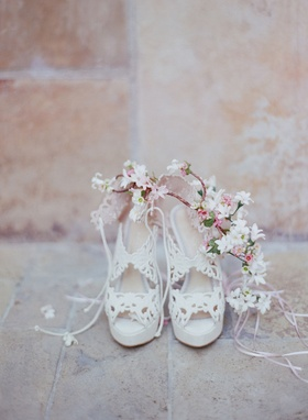"""Belinda"" bridal wedding shoe by Charlotte Olympia with pink flower crown for Brette Wolff"