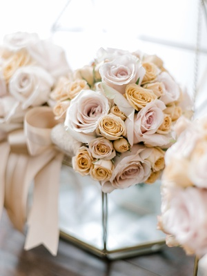 bridesmaid bouquet with blush and peach roses