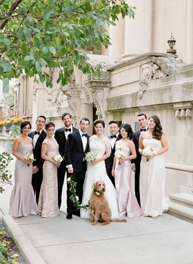 Chicago wedding party bride and groom with dog and mismatched bridesmaids and tuxedo clad groomsmen