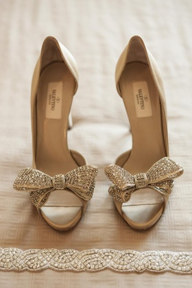 Valentino champagne and crystal heels