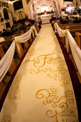Traditional Catholic church wedding ceremony decor