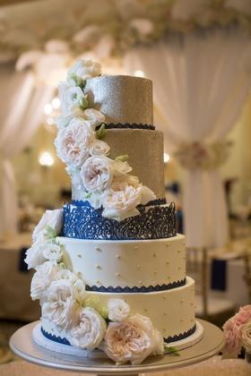 five tier navy silver cake glitter north carolina wedding flowers lemon curd raspberry