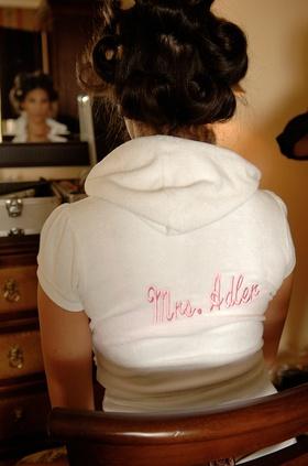 Bride wearing custom terrycloth short sleeve hoodie