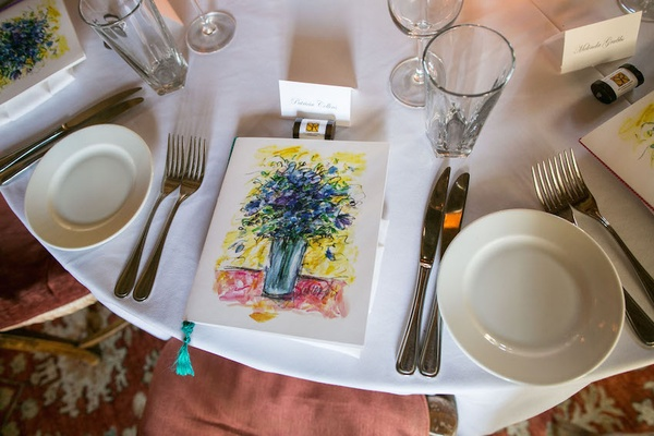 Wedding reception at San Ysidro Ranch with Stonehouse Restaurant menu with floral artwork