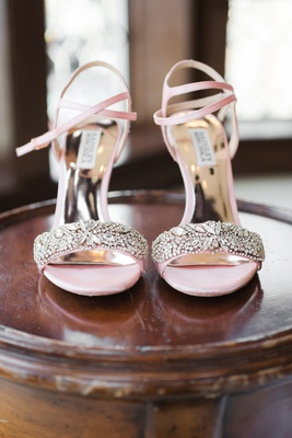badgley mischka bridal shoes in soft pink with rhinestone embellishments