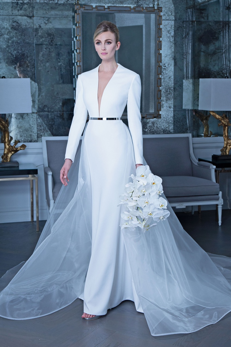 Romona Keveža fall 2019 bridal collection wedding dress RK9505 long sleeve plunging neckline