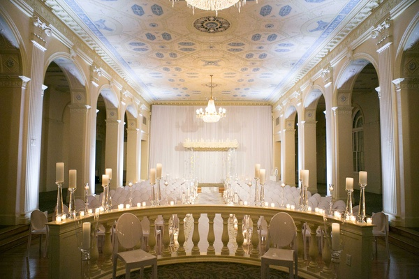 Biltmore Ballrooms new year's eve wedding ceremony with candles and chandelier NYE