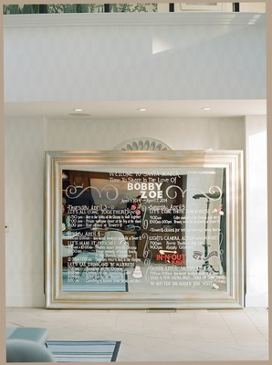 Large mirror with white marker weekend itinerary details