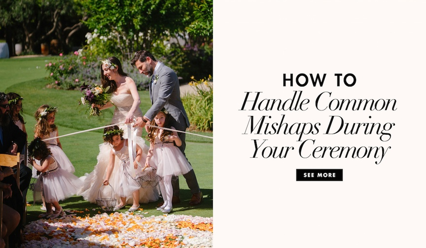 how to handle wedding-day mishaps, when things go wrong on your wedding day