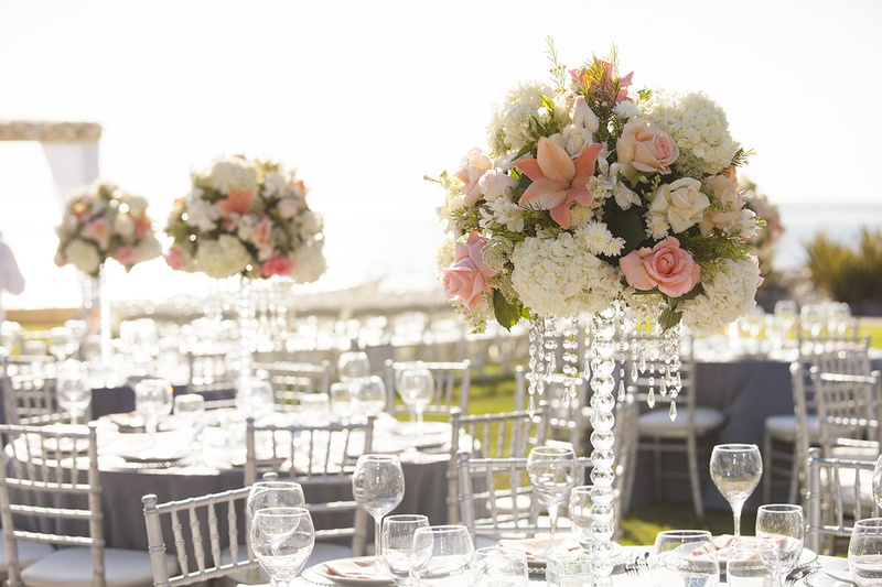 Reception Dcor Photos Ivory Coral Tall Centerpieces Inside
